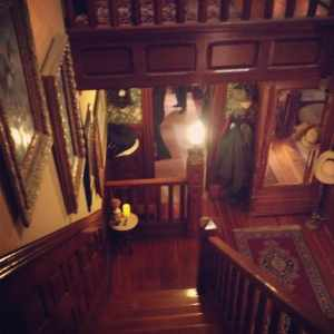 The staircase at the Faragher House